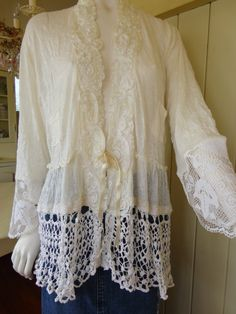 Ivory Cream Knit Crinkle Lace Cardigan / Jacket Plus by vintacci