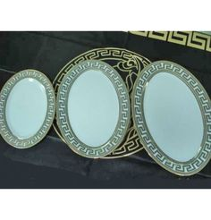Versace 3 Oval Plates - 3 pieces    Items on the picture is what you receive.      ALL THIS COMES IN SPECIAL LUXURY BOX!!!