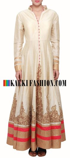 Buy Online from the link below. We ship worldwide (Free Shipping over US$100) http://www.kalkifashion.com/cream-coloured-zari-and-silk-salwar-suit-with-net-dupatta-only-on-kalki.html