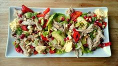 Salade met gerookte makreel en avocado