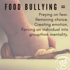 """Food bullying literally takes food out of someone's hand—by removing choice, creating emotion, or forcing an individual into groupthink mentality. It's the person pushing supplements to cure COVID-19, the company claiming their food is """"clean"""", the social media celebrity making claims about farming. Let's be sure that people are allowed to buy food on common sense during a pandemic. Food Out, Safe Food, Food Labels, Stressed Out, Common Sense, Meals For One, People Around The World, Other People, Agriculture"""