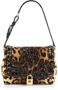 Dolce and Gabbana ~ Black Embellished Leopardprint Calf Hair Shoulder Bag Handbag Accessories, Fashion Accessories, Motif Leopard, Leopard Prints, Animal Print Fashion, Animal Prints, Womens Purses, Beautiful Bags, Purses And Handbags