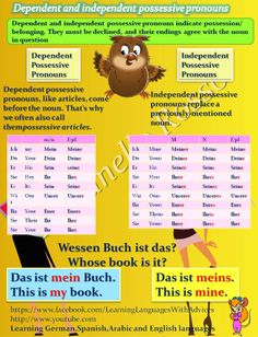 Duits - Deutsch - Grammatik - grammatica - possessiv Pronomen - bezittelijk voornaamworod