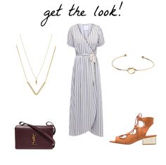 A trendy life. White striped wrap midi dress+brown lace up midi heeled sandals+dark brown shoulder bag+gold jewelry. Summer Outfit 2016