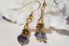 Amethyst Earrings Purple Amethyst Antique Gold by ornatetreasures, $24.00