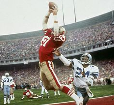 """siphotos: """"On Jan. 10, 1982, one of the most famous plays in NFL history, Dwight Clark's leaping, fingertip touchdown grab of a Joe Montana pass—forever known as """"The Catch""""—gave the 49ers a 28-27 lead over the Cowboys with just 51 seconds on the..."""
