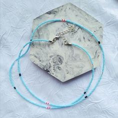 Namjoon, Baby Blue Aesthetic, Color Secundario, Beaded Choker Necklace, Necklace Lengths, Korean Fashion, Turquoise Necklace, Retro Vintage, Cuff Bracelets