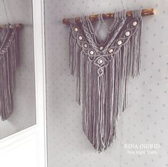 Macrame Wall Hanging with wooden beads Macrame Art, Wooden Beads, All Design, Arts And Crafts, Wall Hangings, Pattern, Patterns, Art And Craft, Model