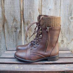 the brown combat sweater boots women's fall winter boot rustic worn look vintage inspired men's shoe wear