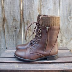 no returns or exchanges. Adorable cozy knit sock detailing tops these dark brown weathered combat boots. Featuring a laced up front, side zipper, and threaded soles. Comfy and cozy for this upcoming f