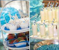'Something Blue' inspired bridal shower..<3 the striped straws!