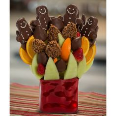 The Gingerbread Men Blossom scent free fruit bouquet are great for all occasions and make great gifts ideas or decorations from a proud Canadian Company. Great alternative to traditional flowers or fruit baskets Christmas Arrangements, Fruit Arrangements, Raspberry, Strawberry, Orange Wedges, Honeydew Melon, Free Fruit, Gingerbread Man, Great Gifts
