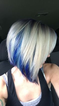 Blonde with blue purple and teal hair