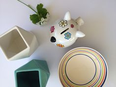 The flower piggy bank goes perfectly with any home decor colour palette! www.oinkypigmoneyboxes.com.au