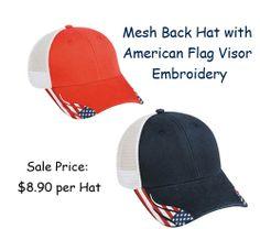 Custom American Flag Hat Chicken Outline Embroidery Design Cotton Strap Closure