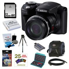 Review Discount Canon PowerShot SX500 IS 16.0 MP Digital Camera in Black + 32GB Memory Card + Replacement Lithium-ion Battery for Canon + Classic Camera Bag + Accessory Kit