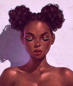 — Portrait by Angel Ganev 'Teal Eyeliner' Black Women Art! — Portrait by Angel Ganev 'Teal Eyeliner' Art Black Love, Black Girl Art, Black Girls Drawing, Drawing Women, Woman Drawing, Teal Eyeliner, L'art Du Portrait, Digital Portrait, Portraits