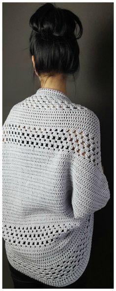 Häkelanleitung für einen luftigen Cardigan mit Lochmuster / diy crochet pattern for a summerly cardigan made by Handmade Gelichen via DaWanda.com