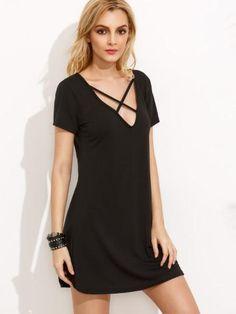 black front cross dress, little black dress trendy design, short sleeve casual shift dress - Lyfie