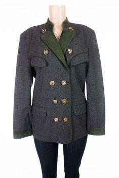 MEINDL Wool Jacket 40 US 10 M Gray Green Leather Trim Trachten Loden Blazer #Meindl #Blazer #Casual