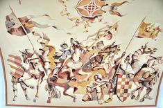 Medieval warriors mural: ceiling detail.