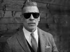 The Sartorialist Nick Wooster Tie Shirt Waistcoat Jacket Sunglasses Moustache Hair Grey B Man Fashion The Sartorialist, Nick Wooster, Persol, Sharp Dressed Man, Well Dressed, Web Design, Man About Town, Look Man, Best Mens Fashion