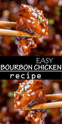 Easy Bourbon Chicken that's crispy, sweet, sticky and tastes just like the kind you grew up eating at the mall! Easy Bourbon Chicken that's crispy, sweet, sticky and tastes just like the kind you grew up eating at the mall! Bourbon Chicken Recipe Easy, Easy Chicken Recipes, Healthy Dinner Recipes, Cooking Recipes, Recipe Chicken, Steak Recipes, Bourbon Recipes, Chinese Chicken Recipes, Asian Dinner Recipes