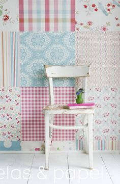 mural papel pintado patchwork girls, telas & papel