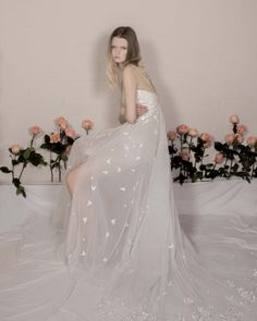 Miniature Rose Gown embroidered with silk thread on soft tulle with layered volume underskirt and silk crepe mini lining. Wedding Cape, Wedding Gowns, Couture Dresses, Bridal Dresses, Hermione, Rose Gown, Strapless Dress Formal, Formal Dresses, Wedding Flower Inspiration