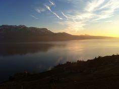 Coucher de soleil sur le lac Léman. Photo F.Badan