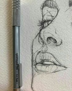 Pencil Art Drawings, Cool Drawings, Drawing Sketches, Drawing Tips, Drawing Faces, Realistic Drawings, Face Sketch, Portrait Sketches, Nose Drawing
