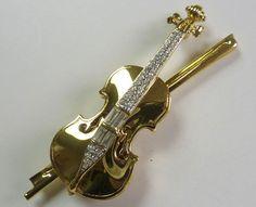 Swarovski Violin Brooch
