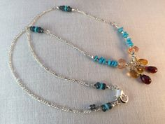 Citrine, Turquoise, Garnet, Kyanite and Amazingly Beautiful Oregon Sunstone Necklace set with Sterling and Thai Silver by CasaDeCastiza on Etsy https://www.etsy.com/listing/235212034/citrine-turquoise-garnet-kyanite-and