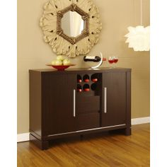 FurnitureMaxx Dining Room Server Sideboard Buffet with Wine Storage , Cappuccino Finish : Wine Racks & Cabinets & Consoles