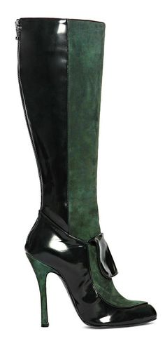 Ermanno Scervino ~ Patent Leather and Suede High Boots