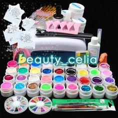 Pro-36W-White-UV-Lamp-Dryer-Pure-Glitter-UV-Builder-Gel-Topcoat-Nail-Art-Kit-Set