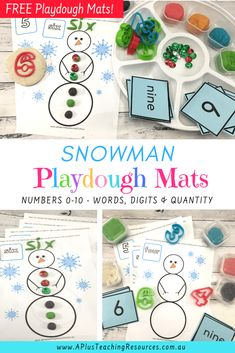 These FREE Snowman playdough mats are great for helping kids with numbers 0-10. Snow much fun for preschool and Kindergarten kids to build fine motor strength, counting and learning to identify numbers. Get them for FREE from our website! #numbersense #freeprintable #playdoughmats Christmas Activities For Kids, Preschool Christmas, Math For Kids, Preschool Math, Teaching Kindergarten, Teaching Kids, Toddler Learning, Early Learning, Christmas Printables