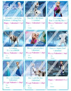 Disney Frozen Valentines Day Cards Sheet #4 (instant download or printed)