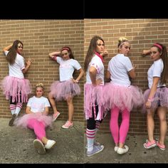 Spirit week: college day: society girls. Pink tutu. Cutt out fabric society sign and glued to white tee. Plus pink face paint!