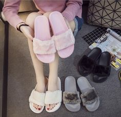 Womens Lady Slipper Slip On Sliders Fluffy Fur Slippers Flip Flop Sandals   | eBay