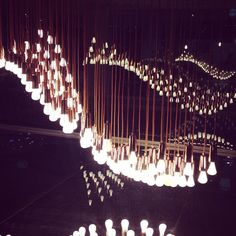 """""""the #plumen #energy #lightbulb #installation at #designmuseum #london inspired by #sculptor #BarbaraHepworth's work""""  See the new Plumen 002 featured in the Light Wave installation at the Design Museum here - http:www.plumen.com"""