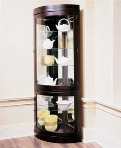Contemporary Curved Corner Curio Cabinet - Accent Furniture - furniture - Macy's Except I'd wanna shabby chic it and put vintage hardware to it Corner Cabinet Dining Room, Corner China Cabinets, Corner Curio, Room Corner, Curio Cabinets, Kitchen Nook, Corner Shelves, Cupboards, Kitchen Island