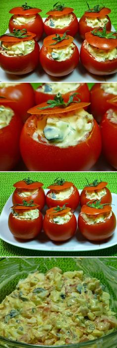 Cómo Hacer Tomates rellenos. #tomate #rellenos #tomates #ensaladas #salud #saludable #salad #receta #recipe #tasty #food   Si te gusta dinos HOLA y dale a Me Gusta MIREN… Mexican Food Recipes, Vegan Recipes, Cooking Recipes, Rice Side Dishes, Good Food, Yummy Food, Lunch To Go, Food Videos, Food To Make