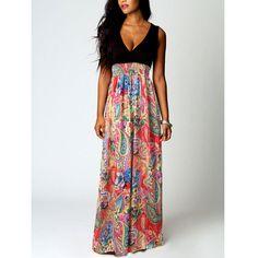 Fashion Flower Print V-neck Sleeveless Dress