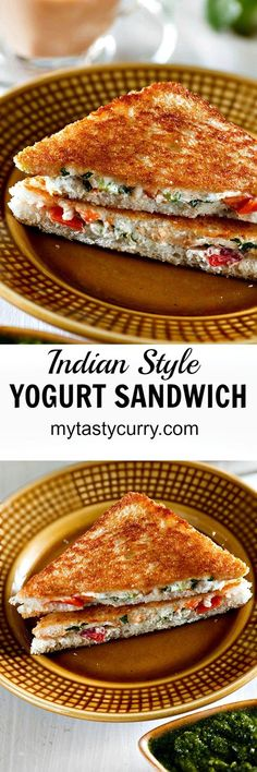 Curd Sandwich Recipe – Indian Sandwich Recipe Yogurt and Cheese – My Tasty Curry Curd sandwich or yogurt sandwich is healthy Indian sandwich recipe. Hung curd, mixed with colorful vegetables seasonings and cheese makes an excellent sandwich filling. Veg Recipes, Indian Food Recipes, Vegetarian Recipes, Cooking Recipes, Recipies, Indian Sandwich Recipes, Healthy Indian Food, Lunch Recipes, Pakora Recipes