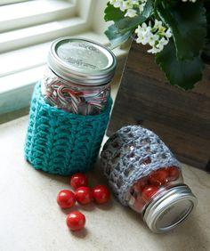 RED HEART®  Crochet Jar Cozies #crochet #pattern
