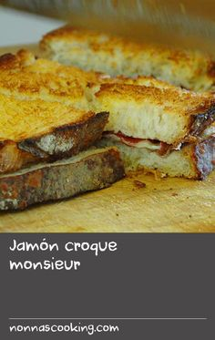 Jamón croque monsieur | This classic ham and cheese toasted sandwich is a winner for breakfast – or as a snack mid-afternoon or late at night, or at any other time of day. Guillaume Brahimi's recipe isbigger, better and more lavish, using slabs of the best sourdough, beaufort or gruyère cheese, and the finest Spanish ham (jamón ibérico) in lieu of authentic French ham. He toasts the sandwich in the oven for the maximum melt on the cheese and a gorgeously crisp exterior. Roast Recipes, Oven Recipes, Dinner Recipes, Bread Recipes, Cheese Toast, Ham And Cheese, Best Toasts, Cheese Sandwich Recipes, Croque Monsieur