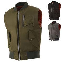 Mens Bomber Vests Down Waistcoats Casual Military Sleeveless Tops Solid sz Small #MadMad