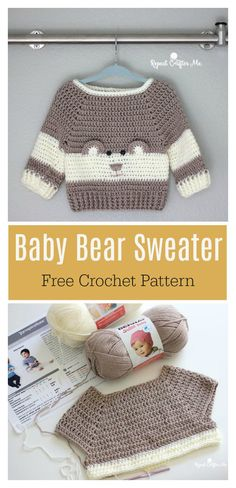 Baby Bear Sweater Free Crochet Pattern This bear sweater is just so adorable. It's fun to crochet a sweet baby bear sweater for your little one with this Baby Bear Sweater Free Crochet Pattern. Crochet Baby Sweater Pattern, Crochet Baby Blanket Beginner, Crochet Baby Sweaters, Baby Sweater Patterns, Baby Patterns, Baby Knitting, Crochet Clothes, Free Knitting, Crochet Baby Dresses