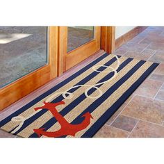 Nautical-themed rug for a home entryway, or leading to the backyard. Nautical Rugs, Nautical Theme, Beach Interior Design, Indoor Outdoor Rugs, Coastal Decor, Entryway, Backyard, Decor Ideas, Home Decor